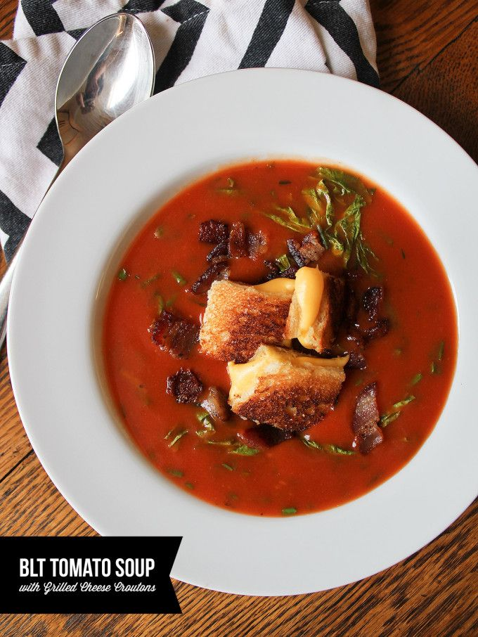 BLT Tomato Soup with Grilled Cheese Croutons