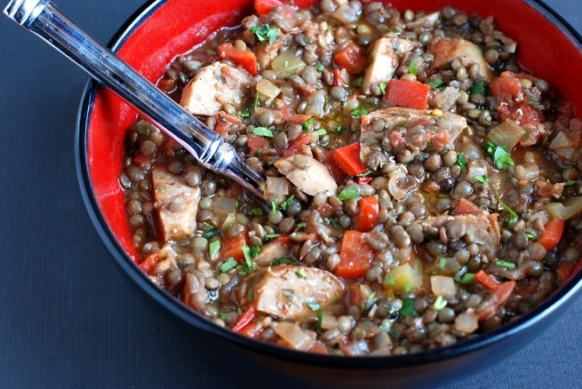 lentil and sausage stew | great, now I'm hungry | Pinterest