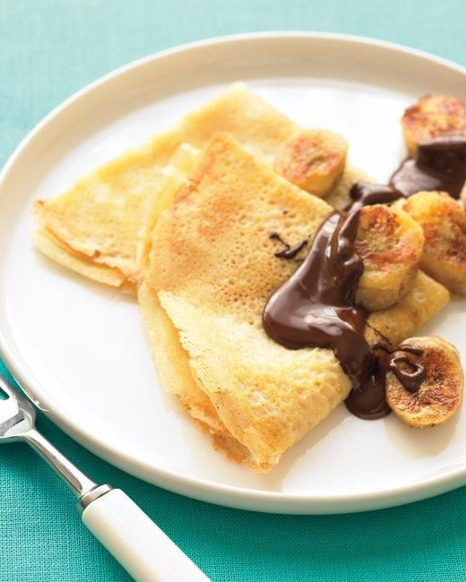Crepes with Sauteed Bananas and Chocolate Recipe