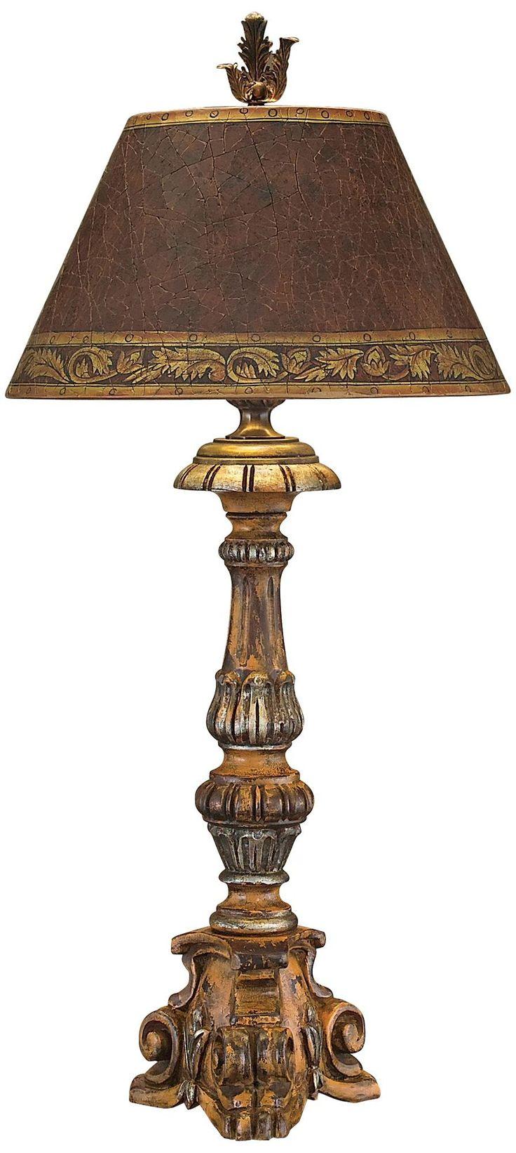 john richard hand carved wood candlestick table lamp. Black Bedroom Furniture Sets. Home Design Ideas