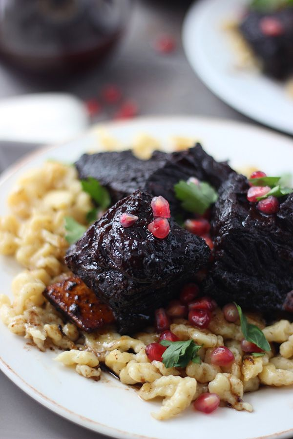 Pomegranate Braised Beef Short Ribs with Brown Butter Spätzle ~ Nice ...