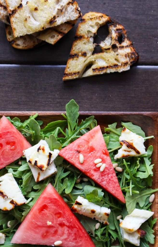 Grilled Halloumi & Watermelon Salad with Basil-Mint Pesto | Yes to ...