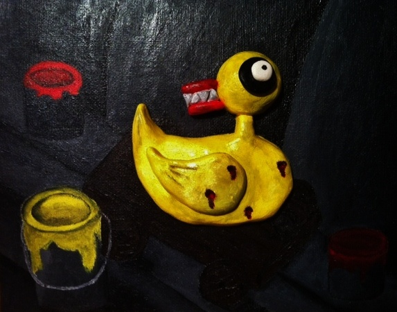 Evil duck toy from the Nightmare Before Christmas done with acrylics ...