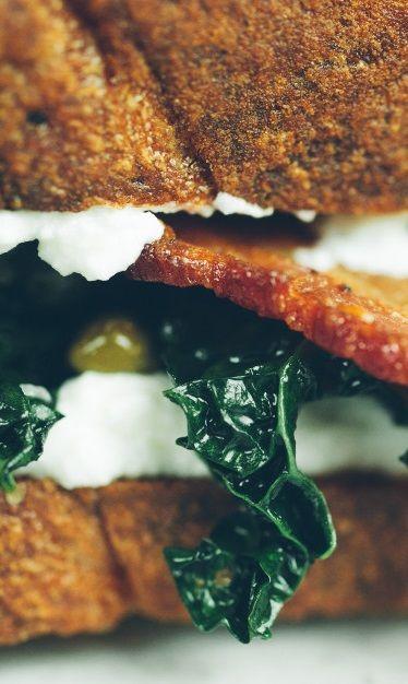 THE BKR ~~~ a bacon, garlic sauteed kale, caper, lemon, and ricotta ...