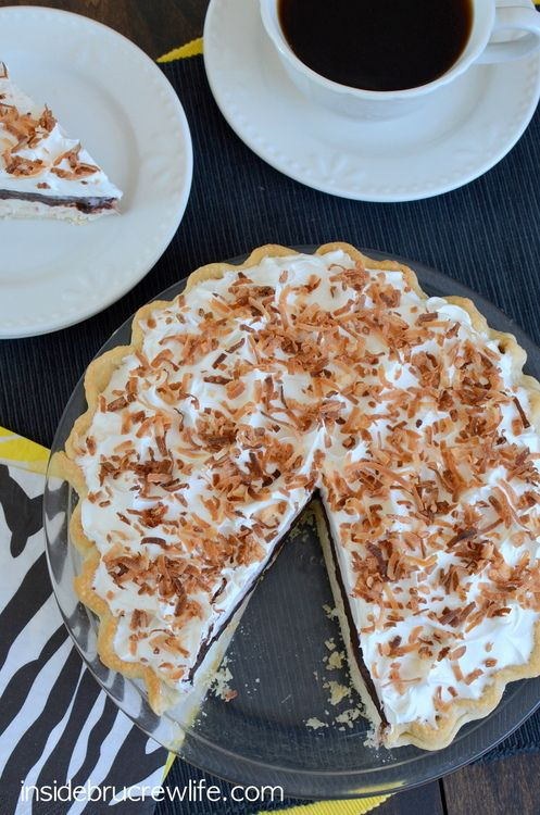 fudge pie easy no bake coconut cheesecake topped with chocolate fudge ...