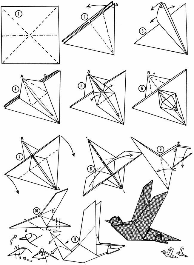 Птица из листа бумаги своими руками 23