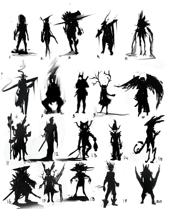 Character Design Silhouette : Thumbnails` black silhouettes sketches thumbnails