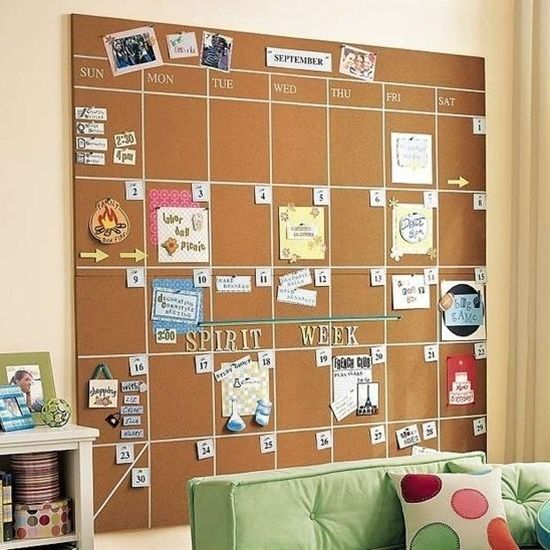Cork Board Schedule Home Decor Pinterest