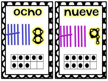 Number in spanish 1 20 number cards in spanish and english 1 20