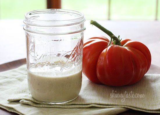 Skinny Caesar Dressing - easy, creamy and made without eggs. Perfect for your summer salads.  #weightwatchers