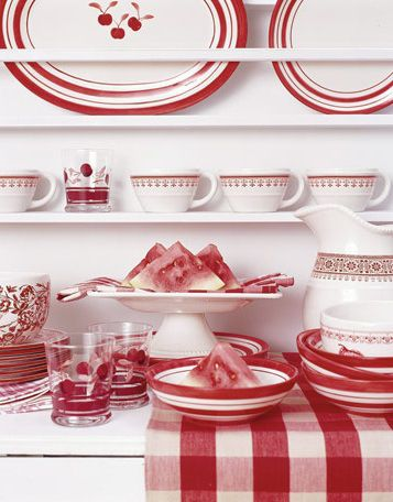 Red and white tea towels, plates, bowl