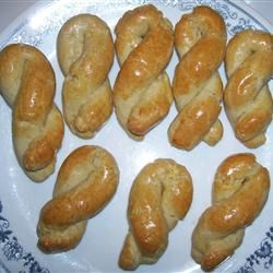 "Greek Egg Biscuits ~ ""A delicate, braided cookie perfect with coffee ..."