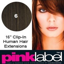 Clip In Hair Extensions Pink Label in 16 inches colour 6 Medium Brown available at www.supermodelhair.com