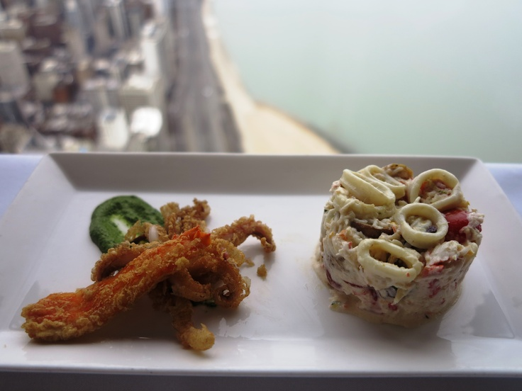 ... Crab and Calamari citrus butter poached squid | fried calamari