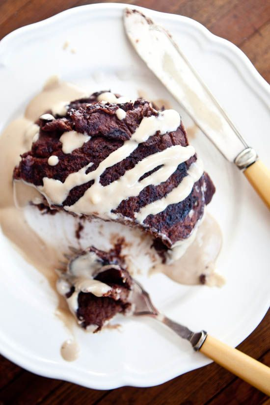 GF Chocolate Pancakes with Irish Cream Syrup | ourfourforks.com