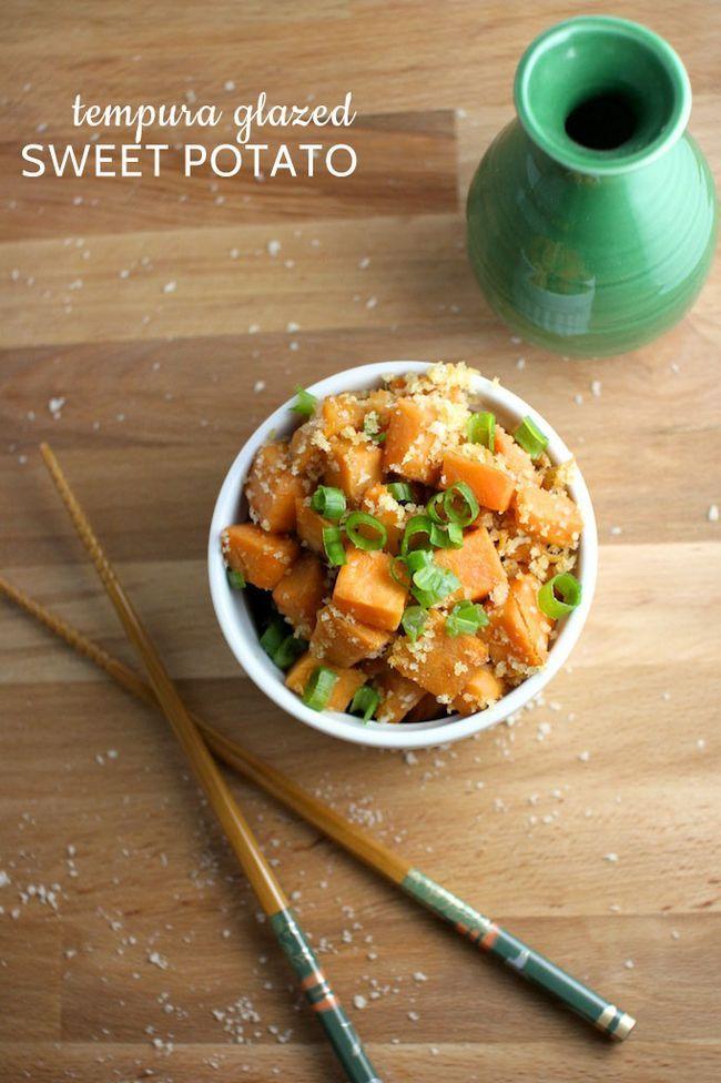 an easy weeknight side dish of tempura glazed crunchy sweet potatoes ...