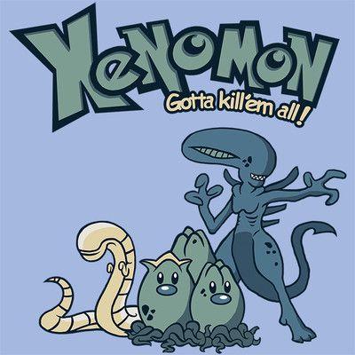 Aliens Pokemon Xenomorph Xenomon Chestburster Men s Blue XL New Tee    Xenomorph Queen Chestburster