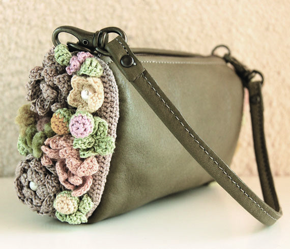 Leather Crochet Bag : crochet ? leather purse Purses and Bags Pinterest