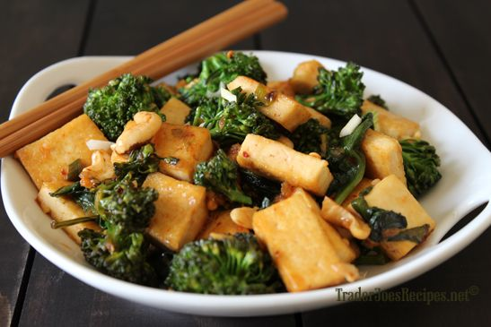 General Tofu Stir-Fry with Baby Broccoli, Spinach, and Cashews