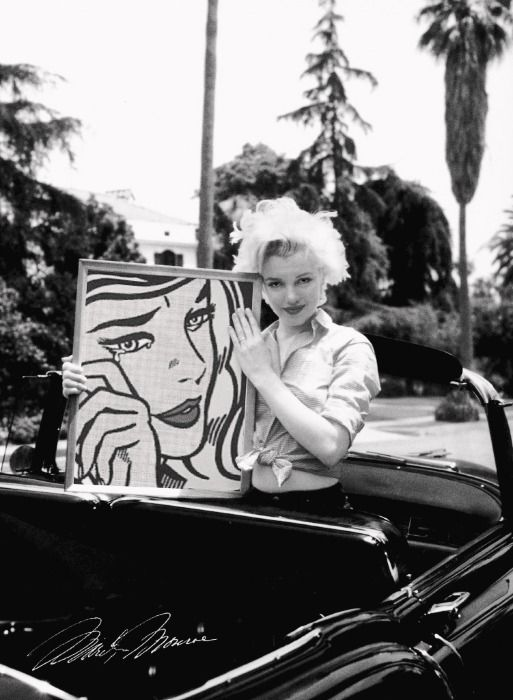 Marilyn Monroe with Roy Lichtenstein's 'Crying Girl (1964)' #art with art in art