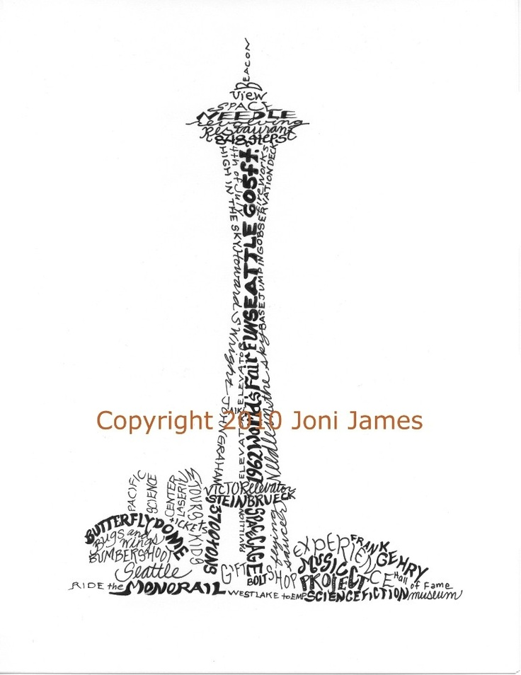 Seattle Center Calligraphy Drawing Space Needle Art