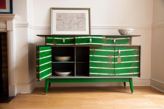 A 1950s sideboard gets new life with a fresh coat of green paint.