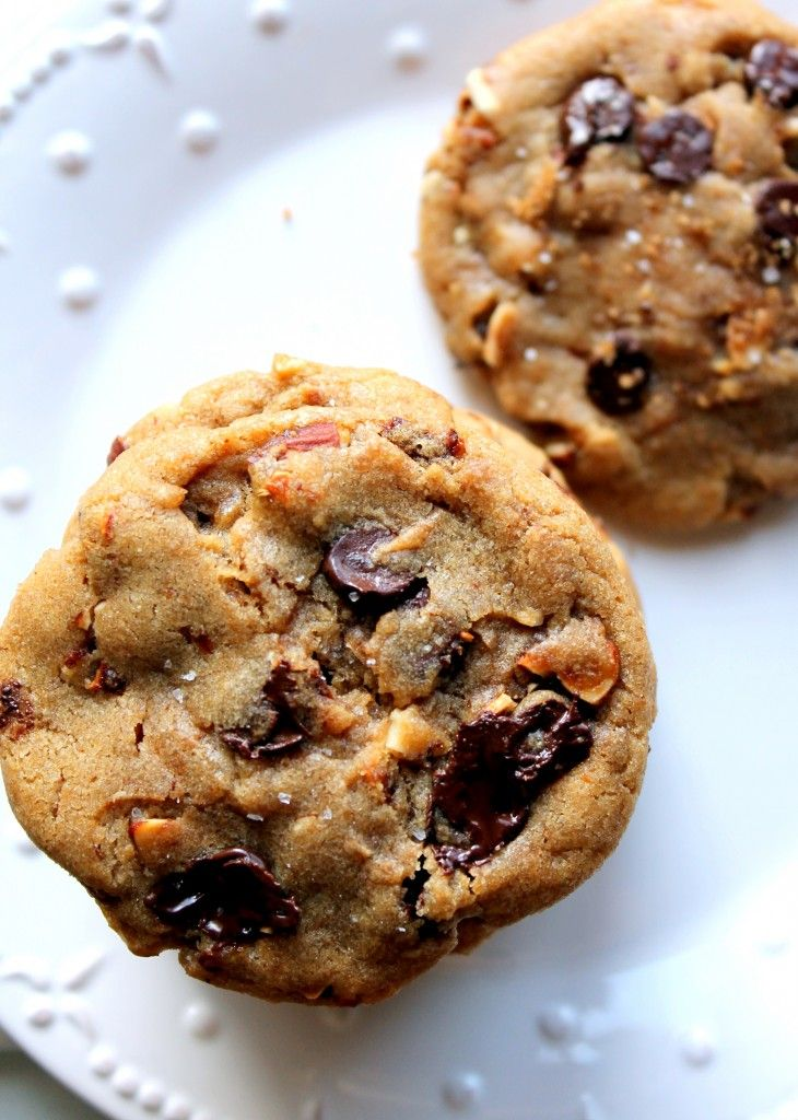 ... Brown Sugar Toasted Almond Dark Chocolate Chip Cookies with Sea Salt
