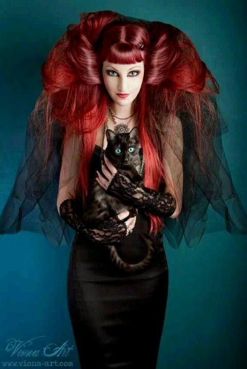 Girl goth redhead