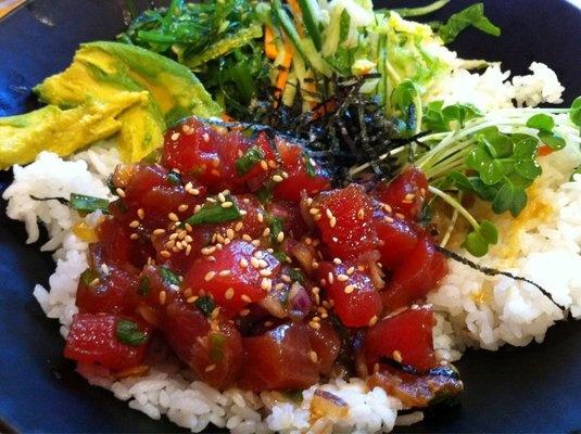 Brown Rice With Tuna, Avocado, And Toasted Nori Recipe — Dishmaps