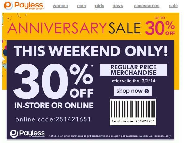 Payless coupon code september 2018
