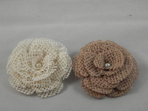 Burlap flower fashion accessory set of 2 with by for Burlap flower template