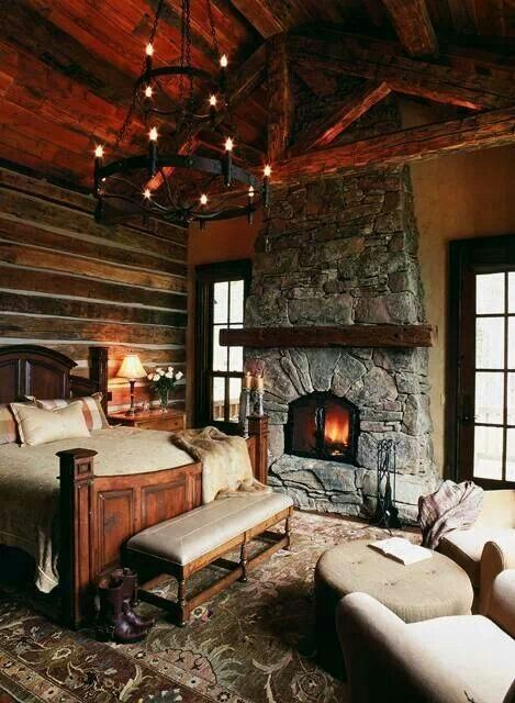Fireplace my dream log cabin home pinterest for Cozy country bedroom ideas