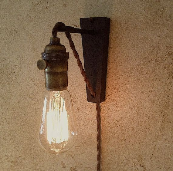 Hanging Lamps With Wall Plugs : Hanging Pendant Wall Sconce. Retro Edison Lamp. Plug in sconce.