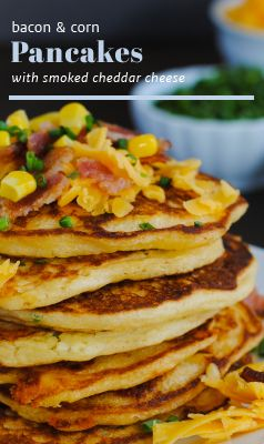 SAVORY corn & bacon pancakes with smoked cheddar cheese. Great recipe ...
