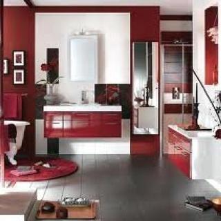 Red black and white bathroom decor home decor design for Black white red bathroom decor