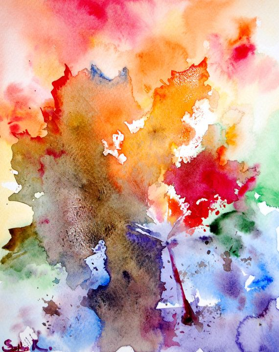 Original watercolor painting abstract rainbow leaves for How to paint abstract with watercolors