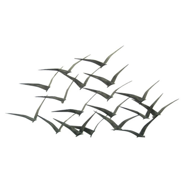 flock of metal flying birds wall art for the home. Black Bedroom Furniture Sets. Home Design Ideas