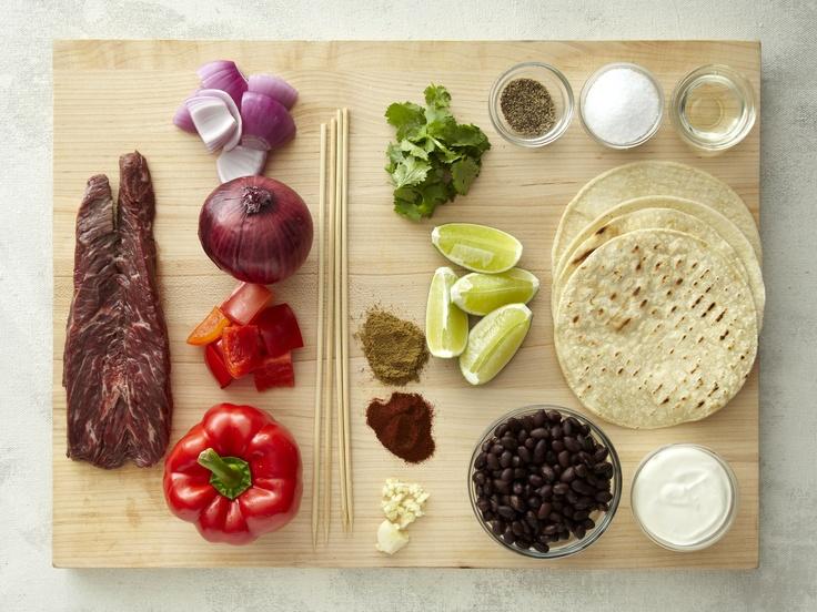 Grilled Hanger Steak Fajita-Kabobs with Smashed Black Beans  #fajitas #delicious #dineinfresh