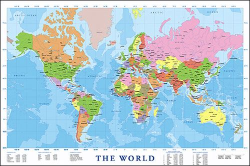 Large Modern Map Of The World Map it out Compass Wayfinding Pin