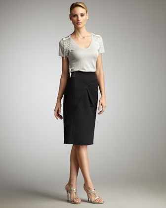Bead-Shoulder Top & Pencil Skirt by Magaschoni at Neiman Marcus.