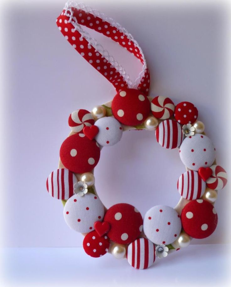 Fabric covered button wreath ornament.  Georgie Girl