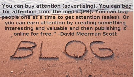 How is a blog different from advertising, PR or sales?  An interesting quote from David Meerman Scott     www.davidmeermanscott.com/