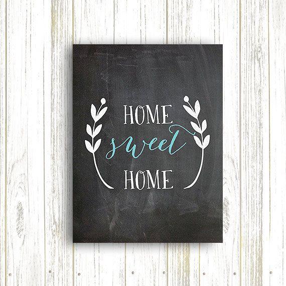 Home Sweet Home Chalkboard Print Home Decor Chalkboard