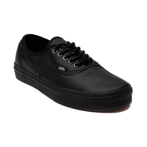 vans authentic leather skate shoe black monochrome