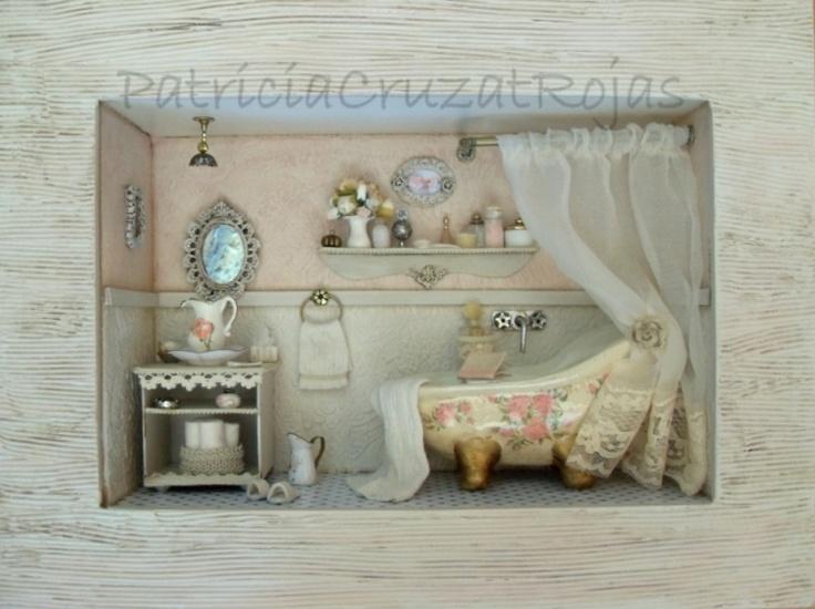 Baños Estilo Shabby Chic:Baño estilo Shabby Chic, con vidrio protector Hecho por encargo