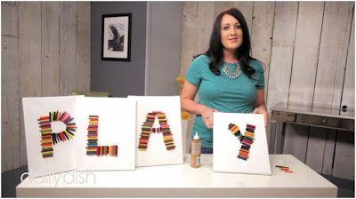 ... Dish   Brie Brie Blooms #videotutorial #kidscrafts #crayons #wallart #