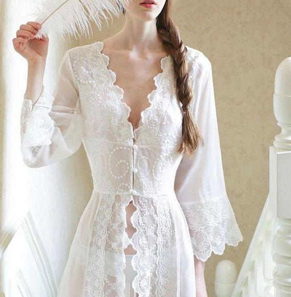White Gauze Nightgown Grecian Empire Bodice Full Sweep ...