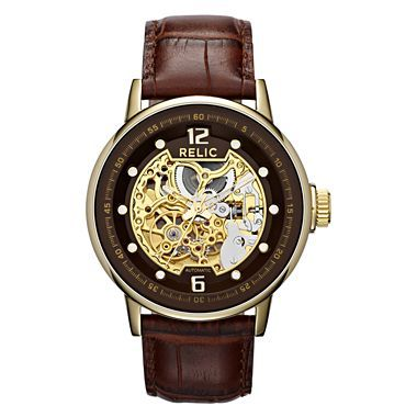 relic 174 mens gold tone automatic skeleton leather