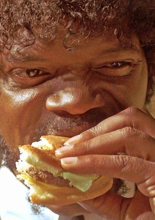 Jules enjoys a Big Kahuna Burger. | Film | Pinterest