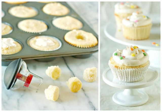 Cupcakes with Cream Cheese Peach Filling and Vanilla Buttercream ...